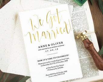 We got married wedding reception invitation, Printable, Wedding after party invite, Marriage announcement, Editable template, Gold, Templett