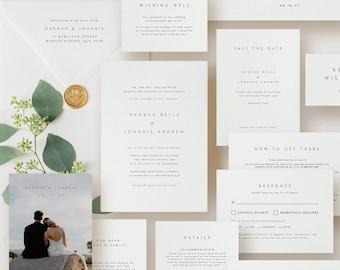 Classic Wedding Invitation Bundle Template, Elegant Wedding Invite and RSVP, Save The Date Download, Wedding Bundles