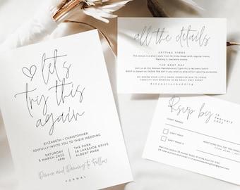 Let's Try This Again, Postponement Wedding Invites Printable, Boho Wedding Invitation Suite Template, Digital Download