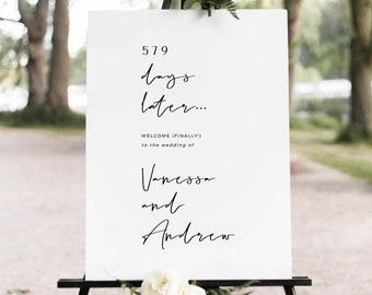 Wedding Welcome Sign Finally, Postponed Wedding Sign Template, Modern Wedding Signage Printable, Digital Download