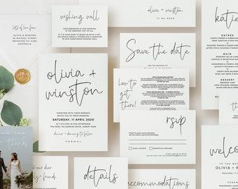 Mega Wedding Bundle, Printable Wedding Invitation Suite, Wedding Stationery Set Template, Minimalist Wedding Invites