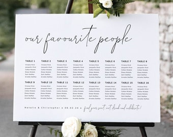 Seating Chart Our Favourite People, Editable Seating Chart Template, Digital Download, Modern Minimalist Wedding Sign