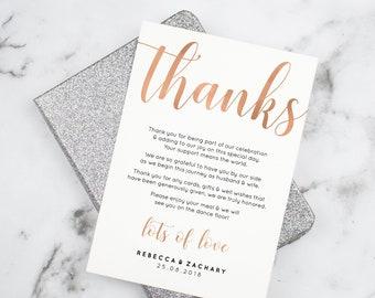 Wedding Thank You Card Template Thank You Cards Wedding Etsy