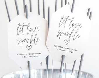 Wedding Sparkler Tag, Let Love Sparkle Tags, Printable Wedding Decor, Wedding Favour Tags, Recessional, Exit Toss Ideas