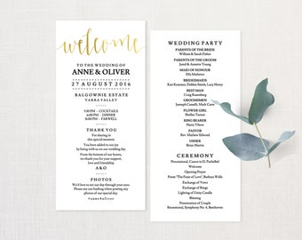 rose gold wedding program template ceremony program instant etsy