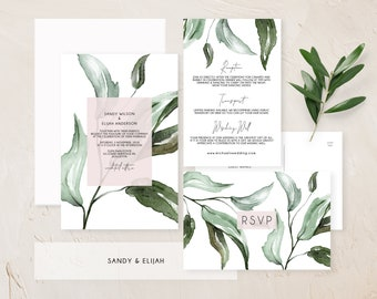 Wedding invitation suite, Blush greenery wedding invitation, Printed wedding invitation set, Botanical wedding stationery, Printable invites