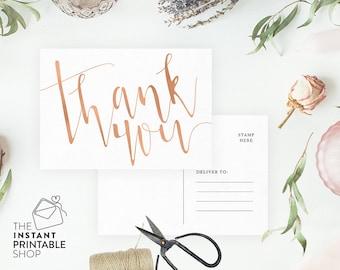 Thank you postcards, Wedding thank you cards printable thank you cards, Wedding postcards, Rose gold wedding stationery, Blush thank you