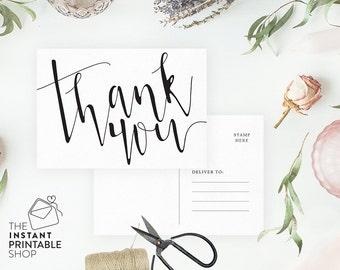 Printable thank you cards, Rustic wedding thank you cards, Rustic thank you cards, Thank you postcard, Thank you wedding cards printable