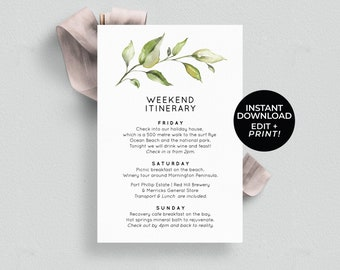 weekend itinerary template wedding itinerary printable hens weekend bridal shower order of events timeline template editable templett