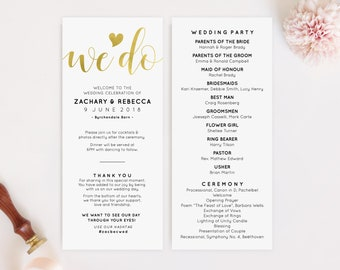 Rose Gold Wedding Program Template Wedding Program Sign Etsy