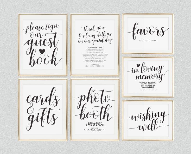 photograph regarding Printable Wedding Signs known as Wedding day signs or symptoms printable package deal, Wedding ceremony indicators offer, Printable wedding ceremony symptoms mounted, Symptoms template deal, Editable wedding ceremony indications deal,