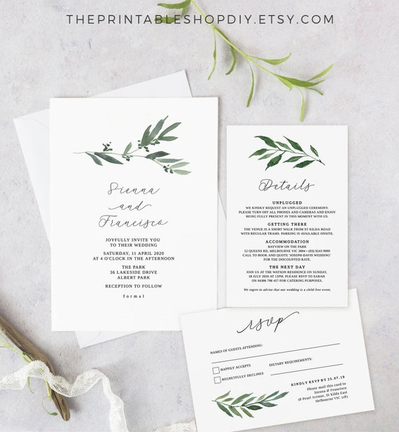 graphic relating to Etsy Wedding Invitations Printable identify Leafy Wedding day Invite, Printable Marriage ceremony Invitation Preset, Rustic Invitation Template Down load, Invitation Leaves