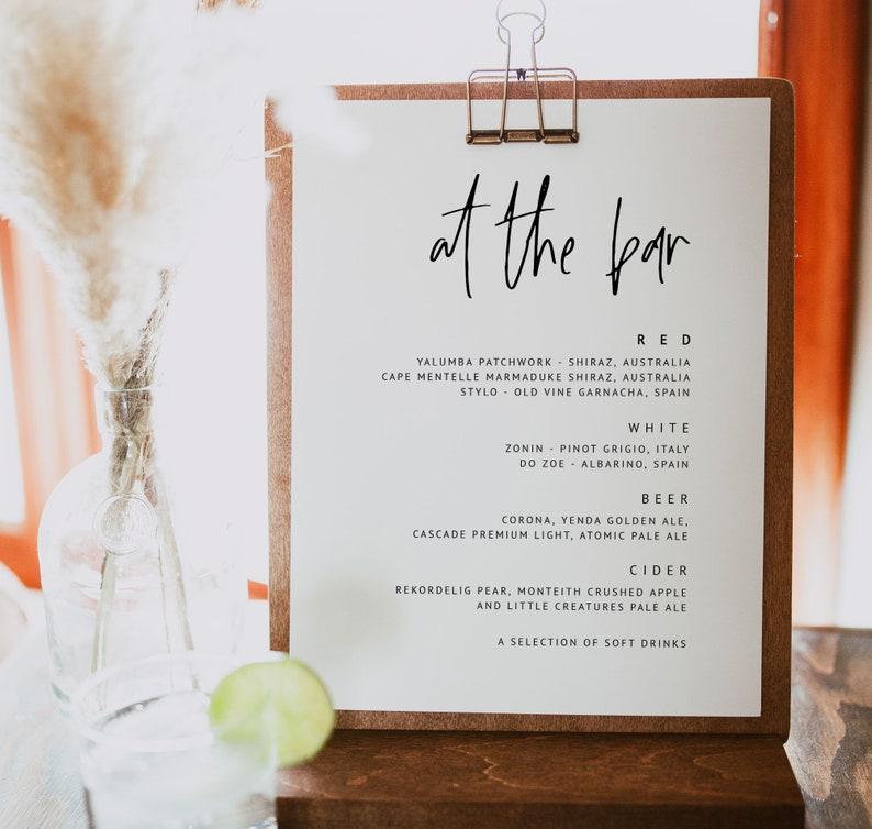 Wedding Bar Menu Printable Drinks Menu Modern Wedding Menu Template Let/'s Drink Signs Wedding Signage