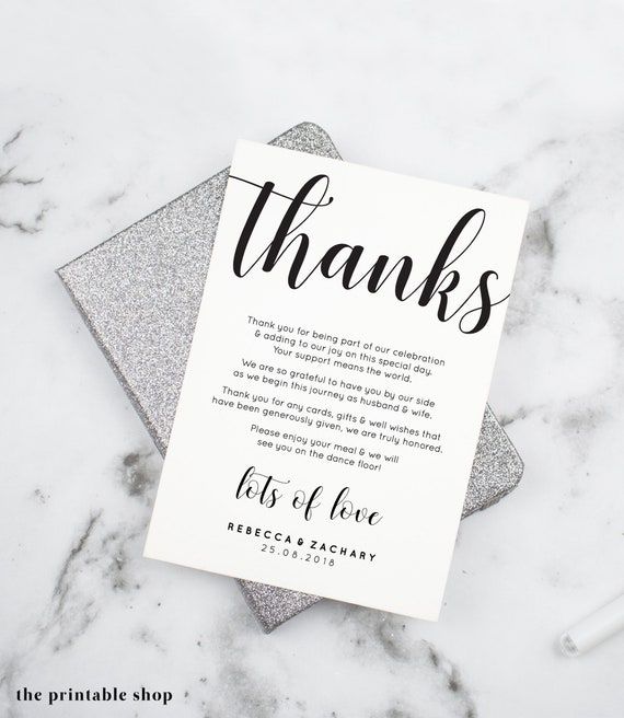Wedding Thank You Template | Wedding Thank You Card Template Thank You Cards Wedding Etsy