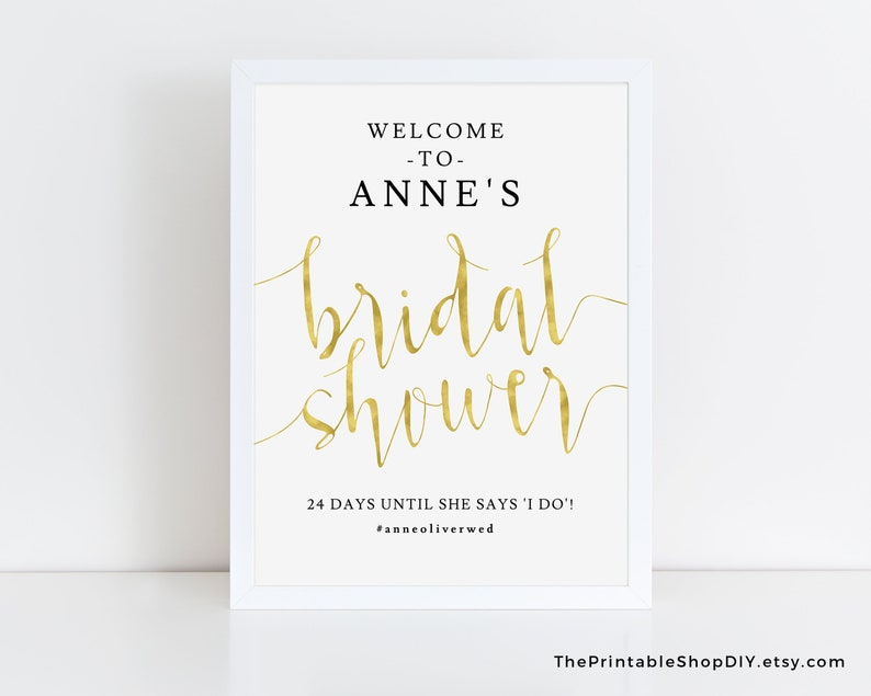 Welcome to bridal shower sign Gold bridal shower decorations Bridal shower sign printable Welcome bridal shower Bridal shower sign gold