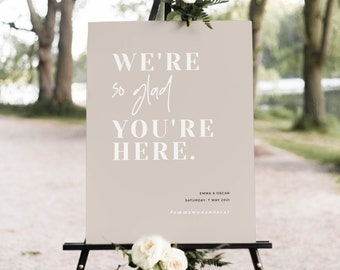 We're So Glad You're Here Wedding Sign, Modern Wedding Signage, Printable Welcome Wedding Sign Digital Download