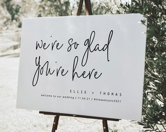 We're So Glad You're Here, Modern Wedding Welcome Sign Template, Printable Wedding Signage, Digital Download