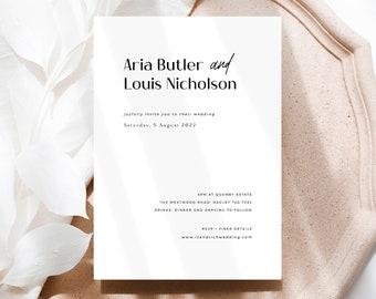 Minimalist Wedding Invitation Printable, Modern Wedding Invite Template, Black and White Invitations Download, Templett