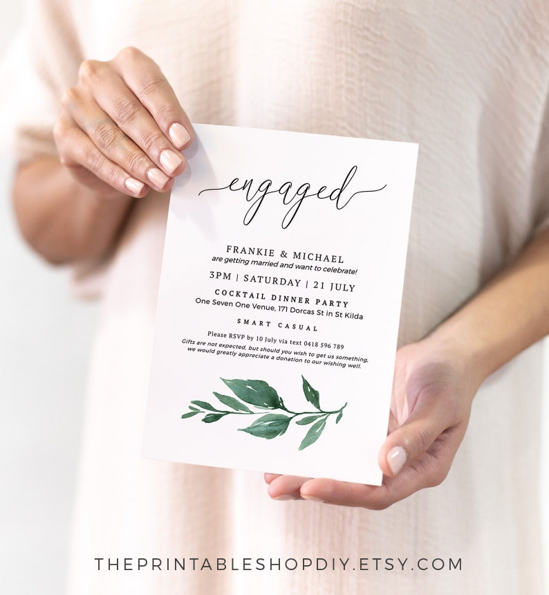 Printable Engagement Invitations Rustic Invitation Template Greenery Engaged Announcement Templett Instant Download