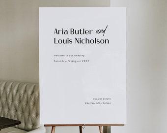 Modern Minimalist Wedding Welcome Sign Template, Printable Wedding Signs, Black and White Wedding Decor