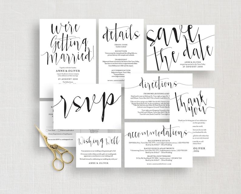 Details card Instant Download Wedding suite Printable wedding invitation set template Rustic save the date Rustic wedding invites
