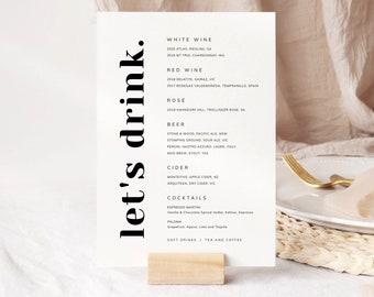Modern Wedding Bar Sign, Printable Drinks Sign, Minimalist Bar Menu Signage, Reception Decor, Digital Download