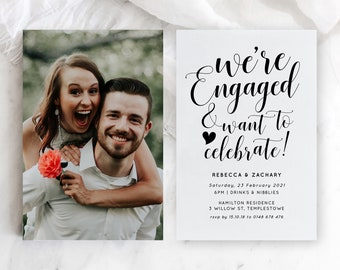 Printable Engagement Announcement, Boho Engagement Party, We're Engaged, Digital Download, Engagement Invites Template