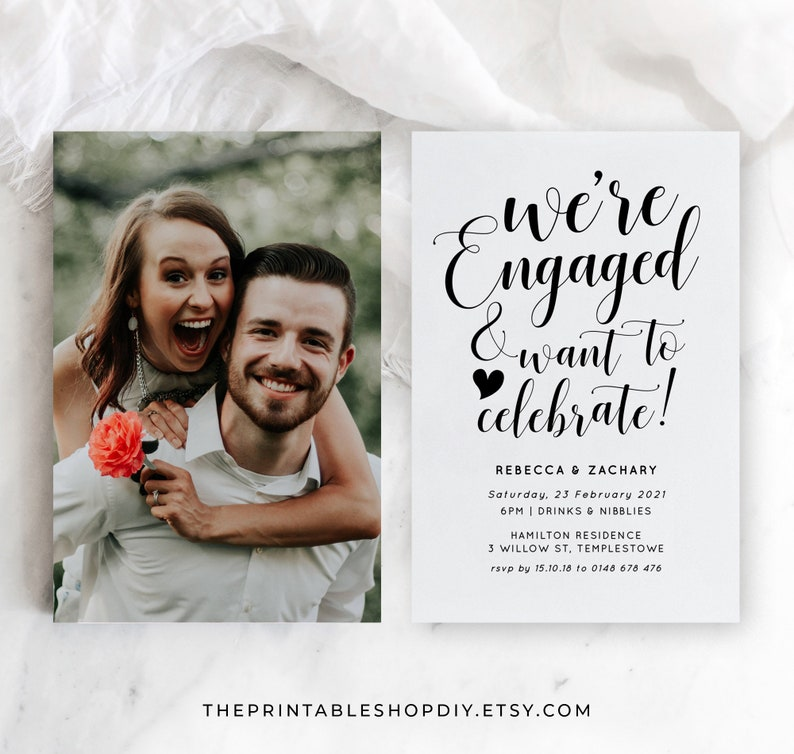 Printable Engagement Announcement Boho Engagement Party image 0