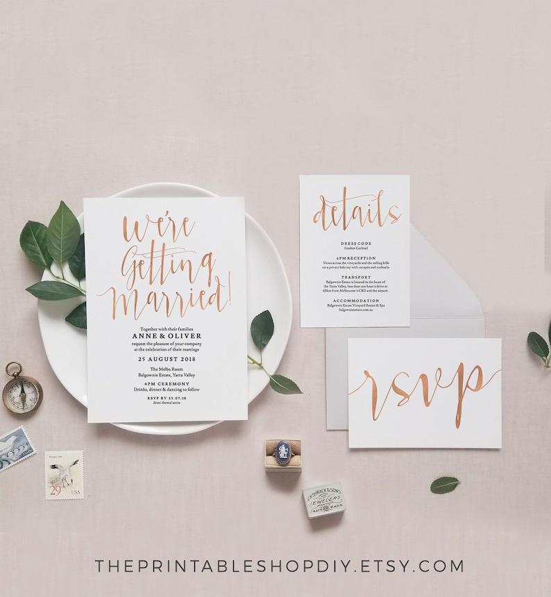 Wedding invitation template download Were getting married invitation, Rose gold wedding invitation set Printable wedding invitation set