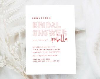 Pink Bridal Shower Invitation Printable, Modern Boho Bridal Shower Invite, Hens Party Invitation Template