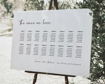 Wedding Seating Chart Template Printable, Wedding Reception Seating Sign, Modern Table Plan, Digital Download, Templett