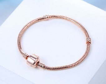 c3914c5fb Pandora Style Bracelet . Rose Gold Snake Chain Charm Bracelet . 7