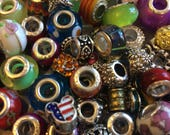 European Bead 25 Beads Randomly Picked Mix Acrylic - Glass - Spacers - Rhinestones - Themed - Dangling Free Shipping
