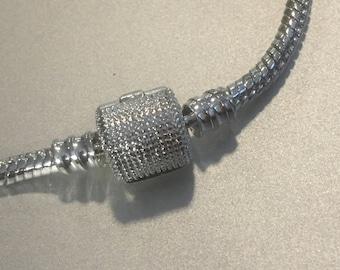 6e20a9c71 Pandora Style Bracelet . Silver Snake Chain Charm Bracelet . 7.5