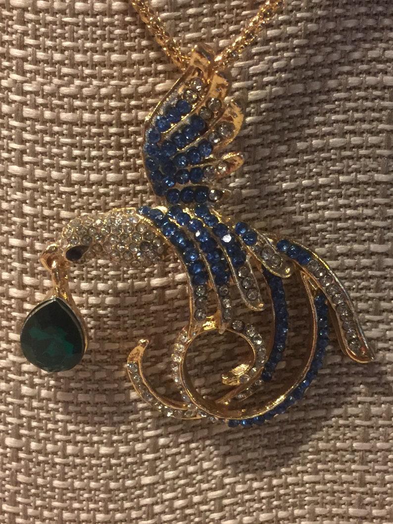 Bird 24 Gold Braid Chain Free Shipping Blue /& Green Crystals PHOENIX Pendant Necklace 2.5 x 2.25  Pendant Aviary
