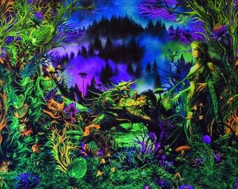 Trippy WallArt Blacklight Tapestry UV Reactive Fractal Psytrance Trance Festival Backdrop Sacred Geometry Meditation Hippie Mushroom