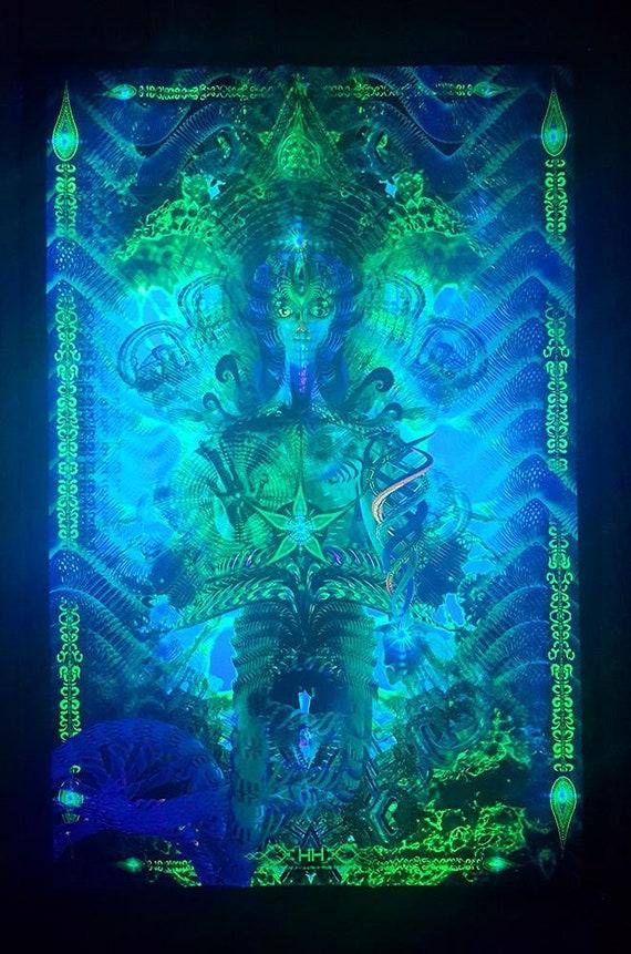 Fluorescent Psychedelic Tapestry Acid UV Active Luminous Subatomic Mushroom  Trippy Backdrop Trance Psytrance