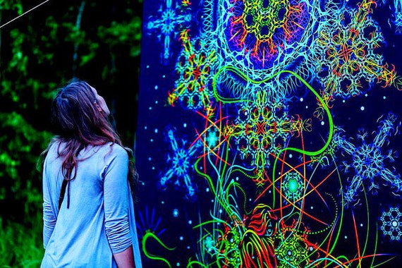 Cosmic Fantasy Fractal Blacklight: Psychedelic Tapestry Fluorescent Art Nature UV Fluorescent