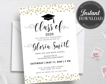 Graduation invitation instant download | Etsy
