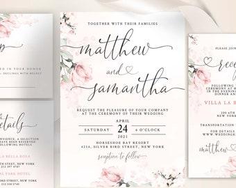 ROSA - Wedding Invitation Template, Blush Pink  Wedding Template, Wedding Invitation, Floral Templett Invitation Editable Wedding Template