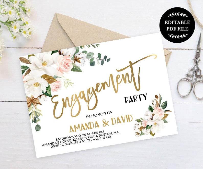 Engagement Invitation Template Editable Instant Download You Edit Pdf Magnolia