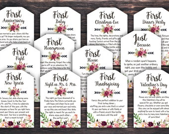 Marriage Milestone Wine Basket Tags - A year of first - Wine Gift Basket Tags - Bridal Shower Gift - Wedding Gift - Rustic Wine Label