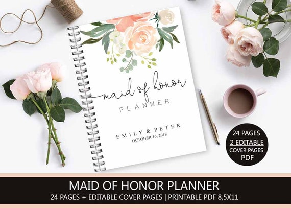 photograph about Maid of Honor Printable Planner titled Maid of Honor Planner, Marriage ceremony Planner Printable, Bridesmaid Planner, Will By yourself Be My Maid of Honor, PDF, Do it yourself Laptop computer PDF, Peach Floral