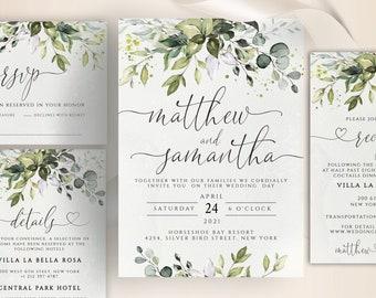 CHLOE - Wedding Invitation Template, Boho Wedding Greenery Template, Wedding Invitation, Eucalyptus Templett Invitation , Faux Gold Invite