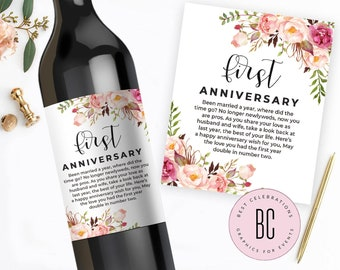 Milestone Wine Labels - Set of 12 - Year of Firsts - Engagement Gift Celebrating Marriage Firsts - Wine Poems - Gift Ideas - Wedding Gift