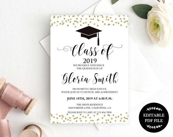 Graduation Invitation Template Instant Download Class 2019 You Edit Editable Pdf