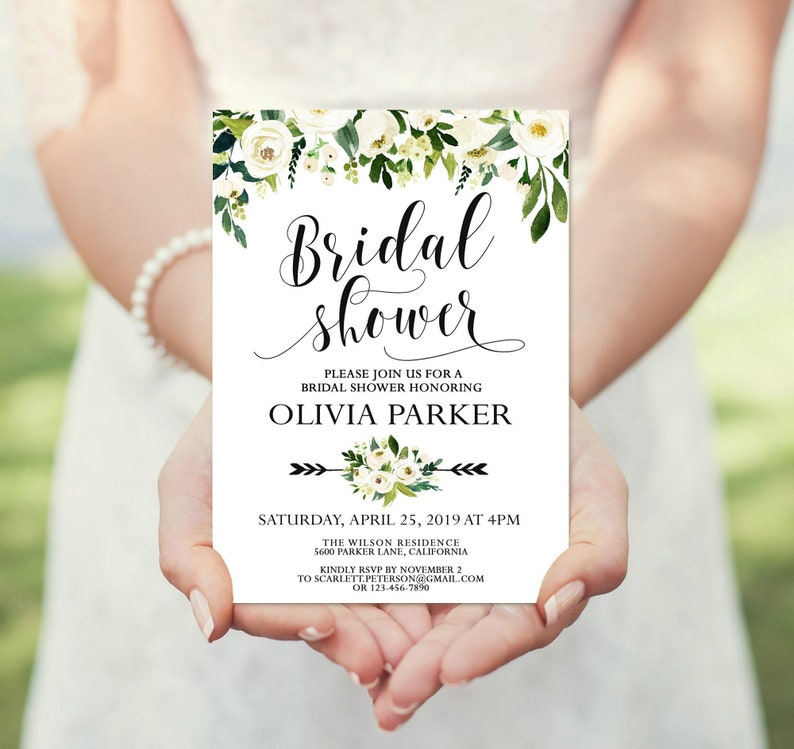 Editable Template Bridal Shower Invitation Floral Bridal Shower Invitation BC-S01 Bridal Shower Invitation