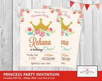 Birthday Invitation, Princess Birthday Invitation, Princess Party Invitation, Printable Birthday Invitation, Princess Birthday Invite,Invite