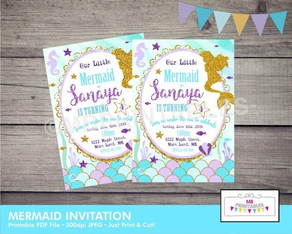Mermaid Birthday Invitation Printable Party