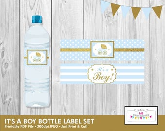 It's a Boy Water Bottle Labels,Baby Shower Water Bottle Labels,Printable Baby Shower Water Bottle Labels,Blue and Gold